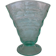 Paden City Aqua Party Line Fan Vase