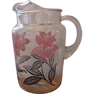 Vintage Mid-Century Glass Pitcher With Ice Lip