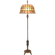 Signed Rembrandt Art Deco Floor Lamp with Leaded Shell Shade