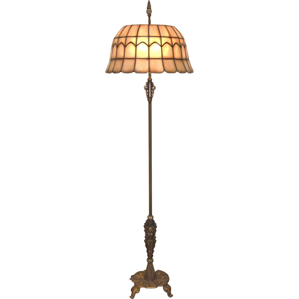Signed Rembrandt Art Deco Floor Lamp with Leaded Shell Shade from ...