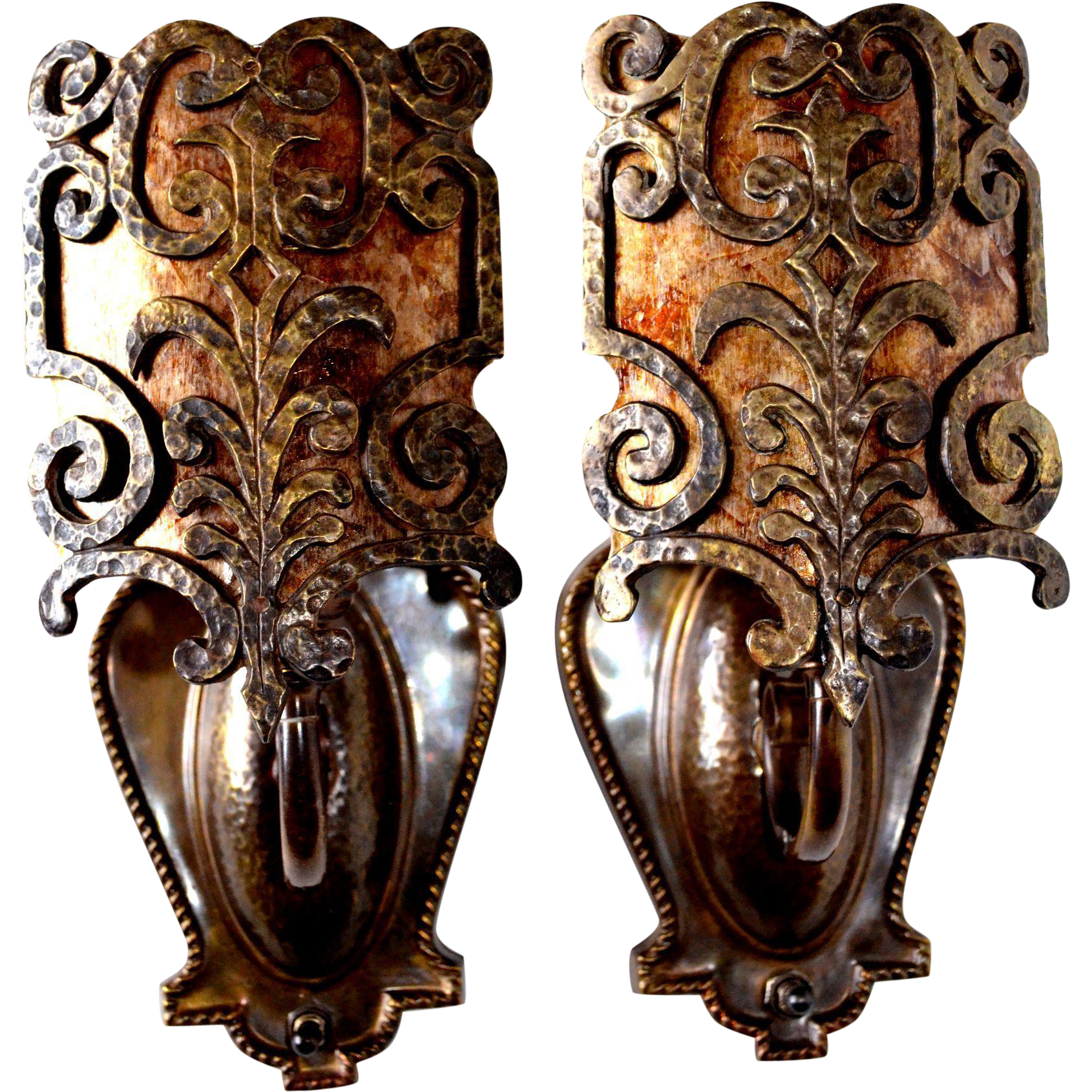 Pair of Spanish Revival/Arts and Crafts Hammered Sconces with Mica Shades