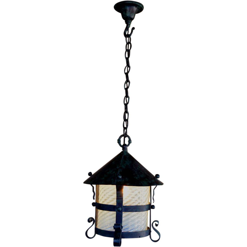Arts and Crafts  Wrought Iron  Hanging Lamp with Opalescent Swirl Shade