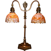 Tudor Style Double Arm Table Lamp with Slag Glass Shades