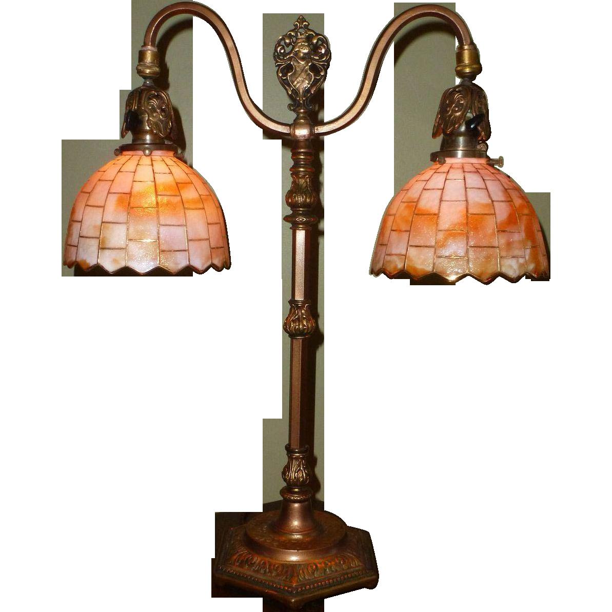 Tudor Style Double Arm Table Lamp With Slag Glass Shades