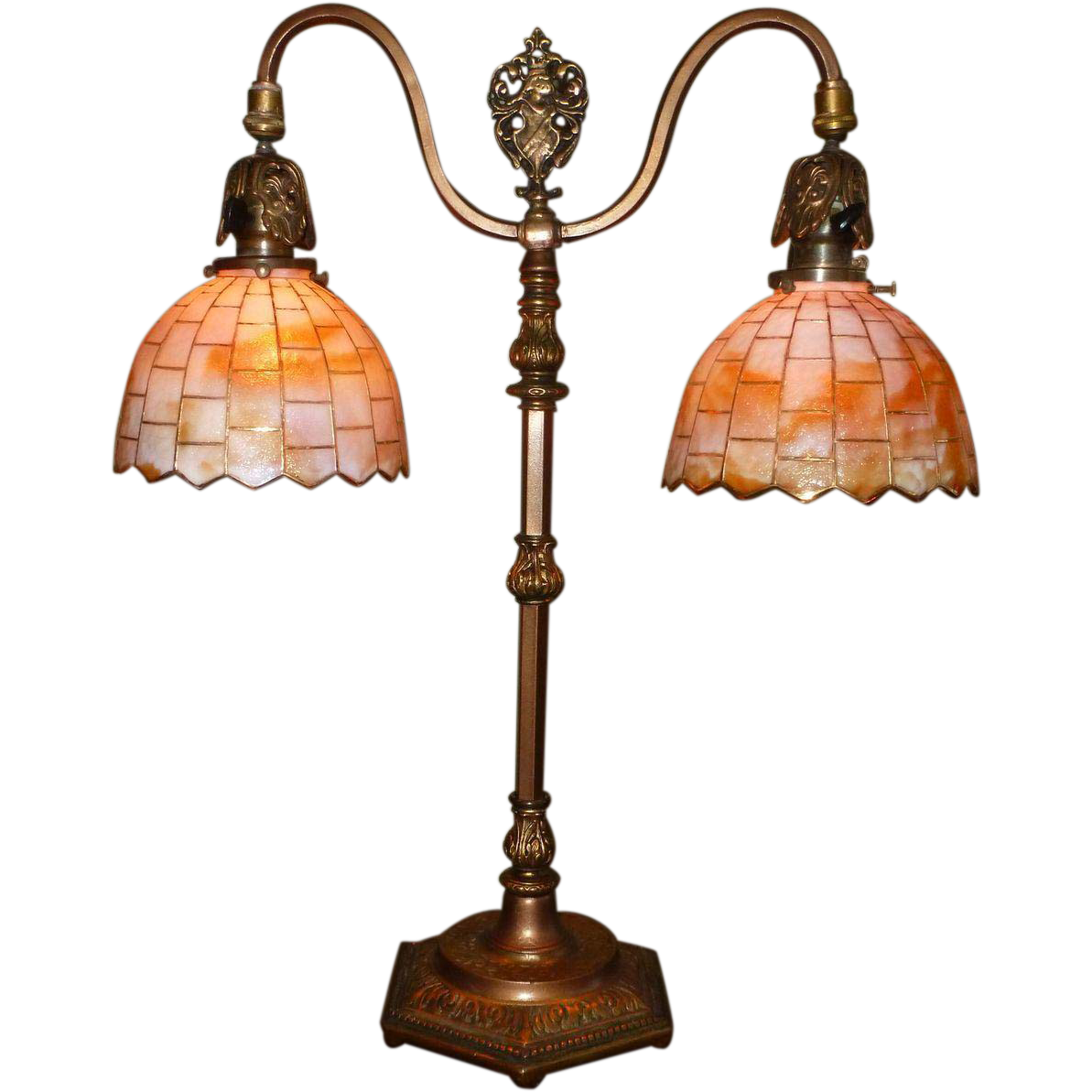Superieur Tudor Style Double Arm Table Lamp With Slag Glass Shades SOLD | Ruby Lane