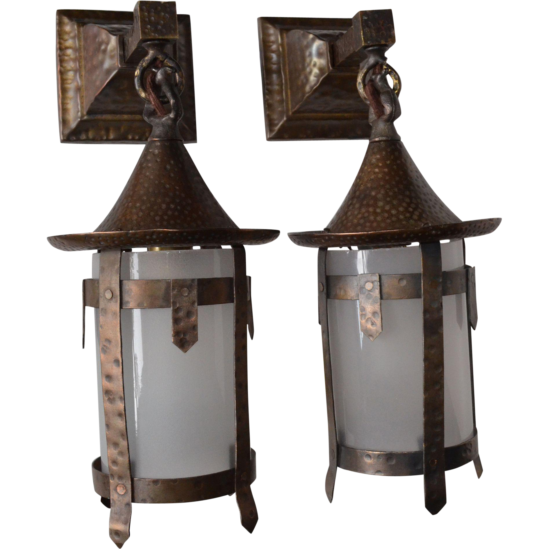 Pair of arts and crafts sconces with glass cylinder shades for Arts and crafts glass