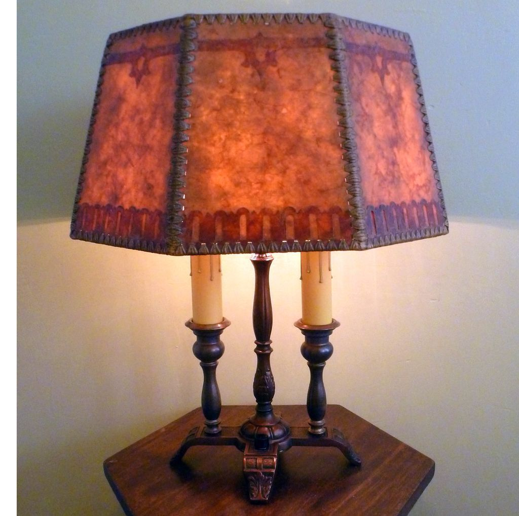 Arts And Crafts Double Candle Lamp With Period Mica Shade