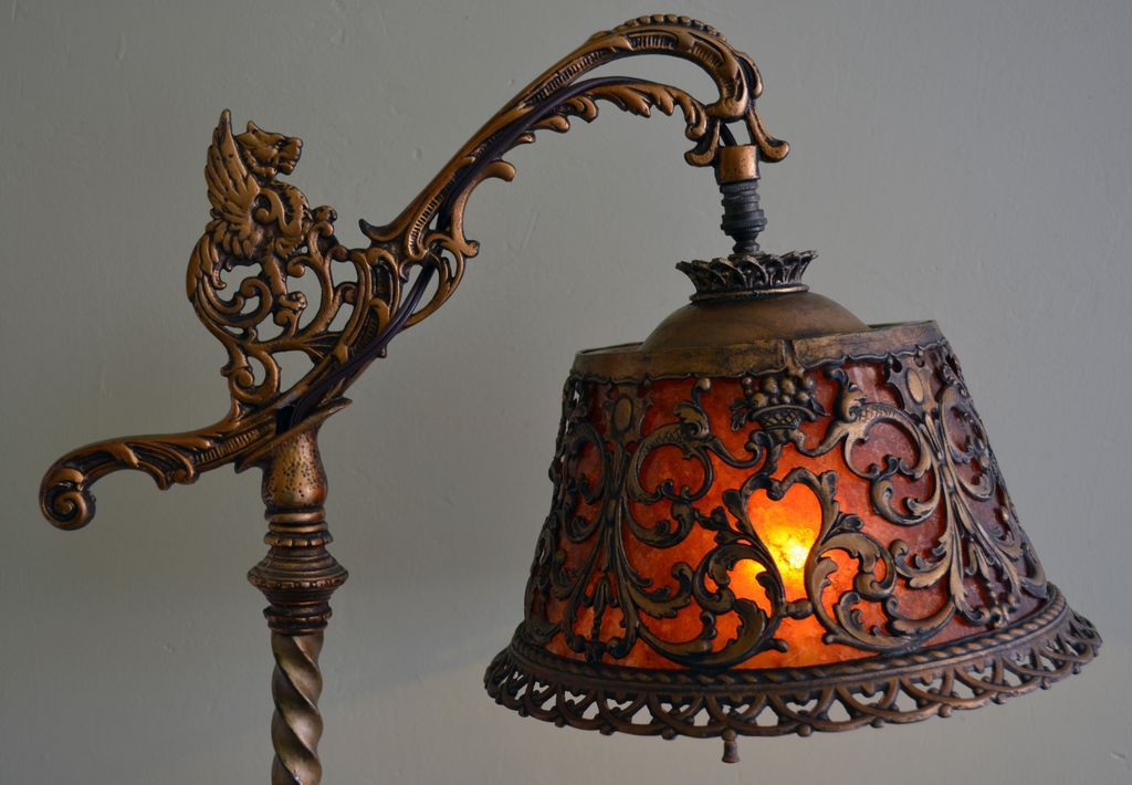 Tudor Style Figural Bridge Lamp with Mica Shade SOLD on Ruby Lane
