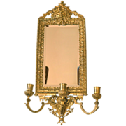 Victorian French Bronze Gilt Beveled Candelabra Mirror