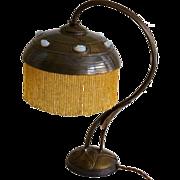 Austrian Art Nouveau Lamp With Chunk Glass Jewels