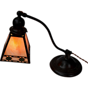 Handel Arts and Crafts Decorated Slag Glass Desk Lamp