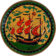 Cloisonne Style Enamelled  Plate With Sailing Ship