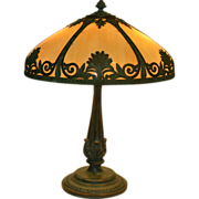 Arts and Crafts Slag Glass Panel Lamp With Verdigris Finish