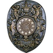 French 19th Century  Brass Repousse Wall Clock