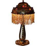 Austrian Art Nouveau Lamp with Jewelled Shade