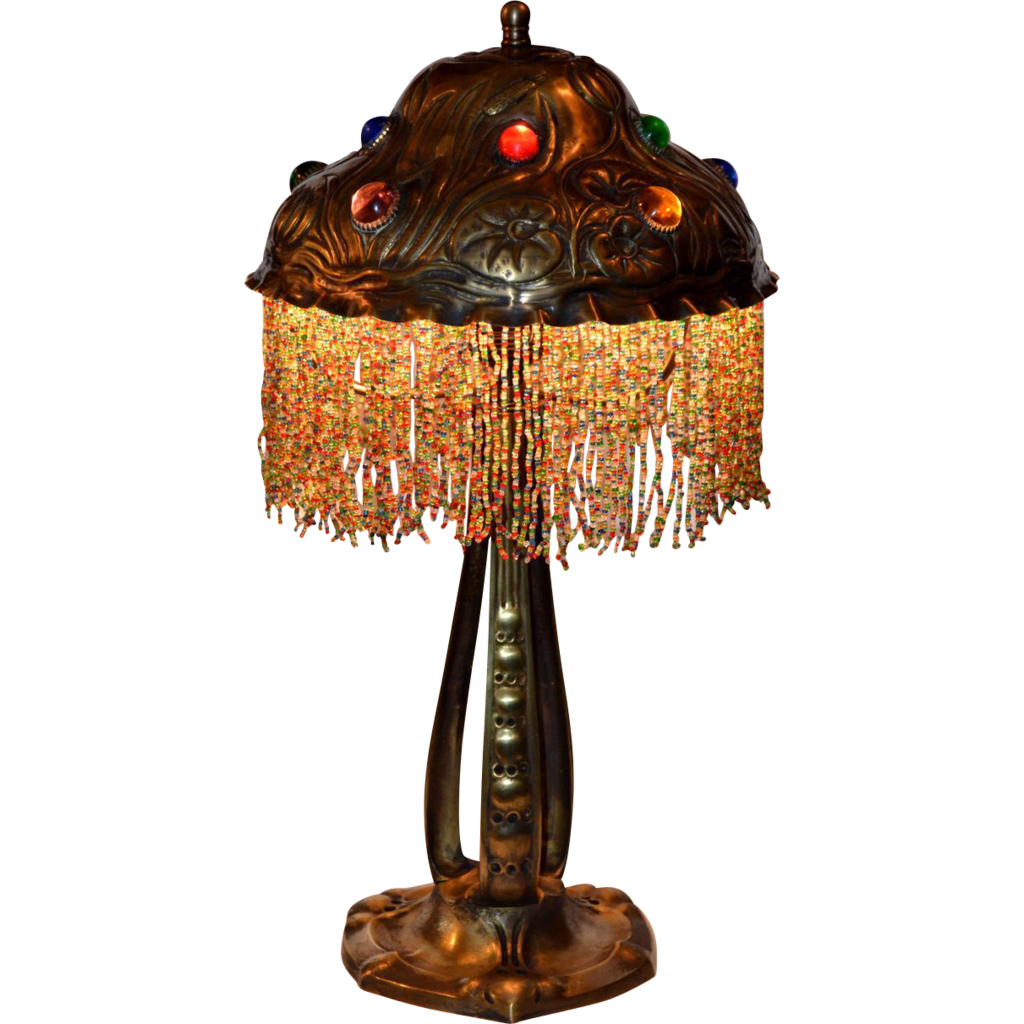 Austrian Art Nouveau Lamp With Jewelled Shade From