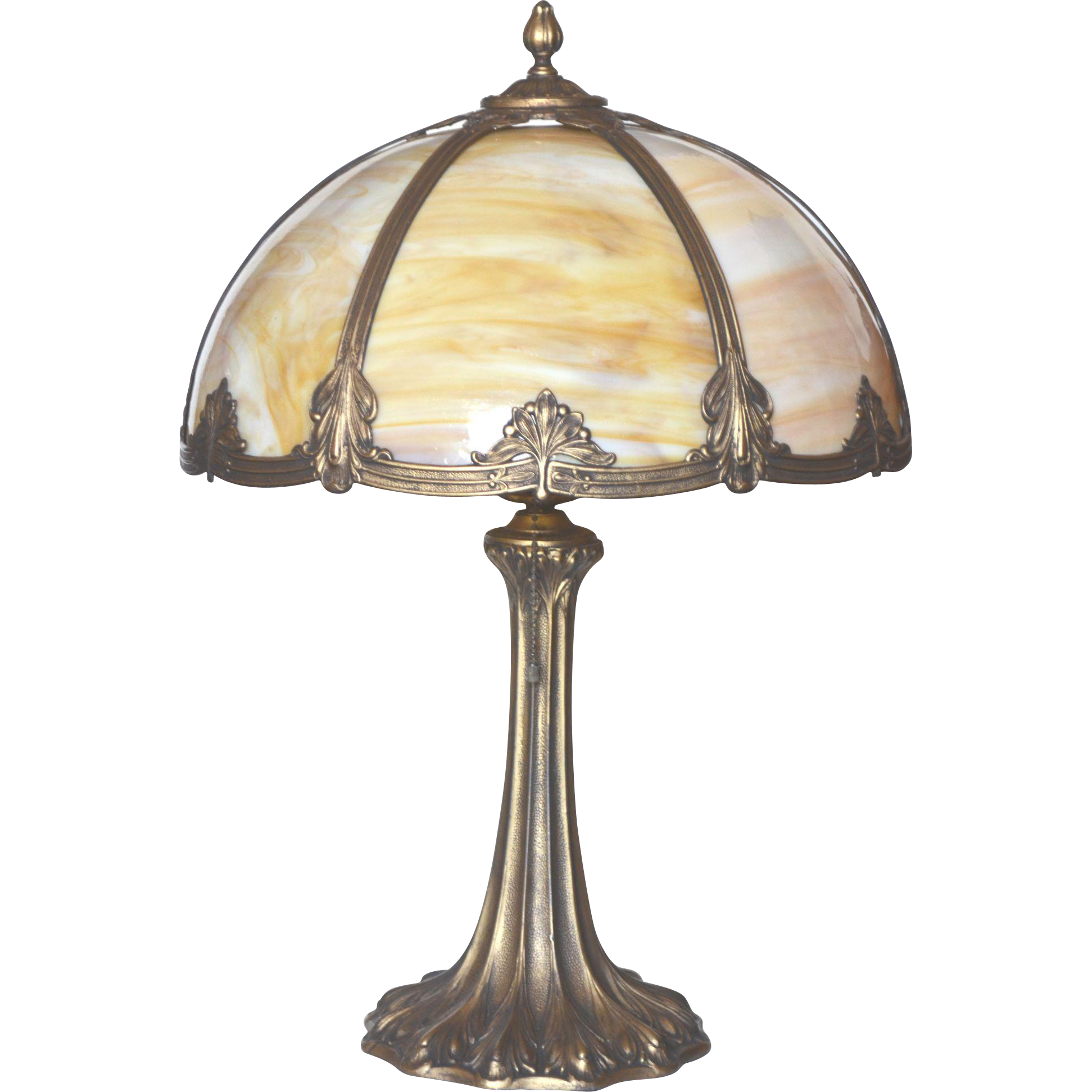 Slag Glass Panel Lamp By Miller Lamp Co From