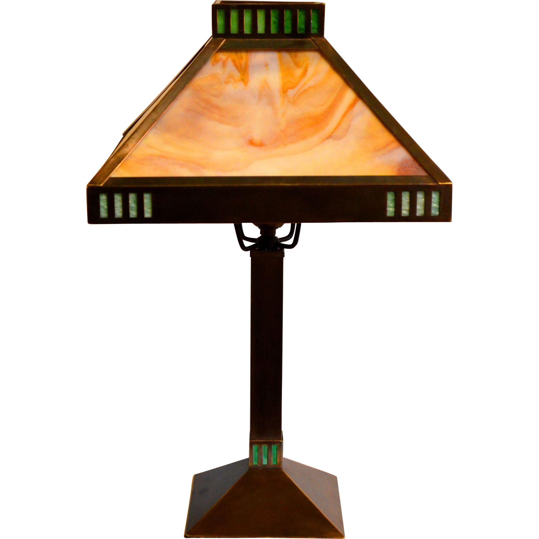Arts and crafts light fixtures - Arts And Crafts Mission Style All Brass Slag Glass Lamp