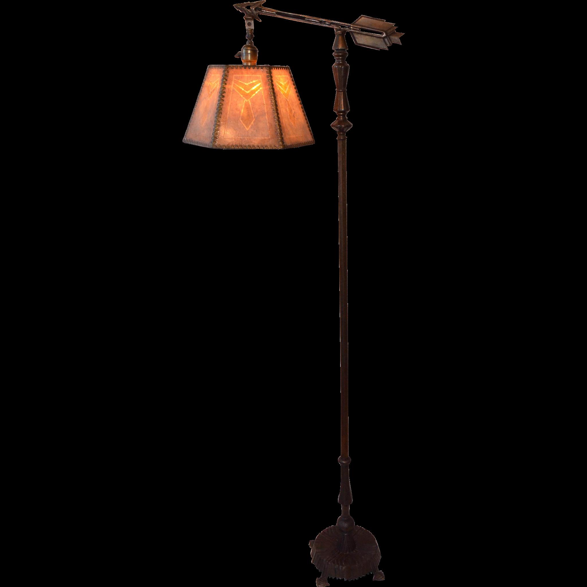 Art Deco Bridge Lamp With Original Mica Shade From