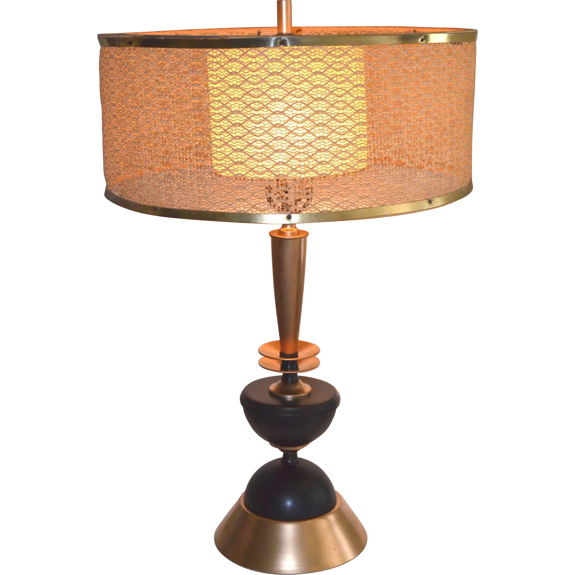 Mid Century Rembrandt Lamp: Mid Century Modern Table Lamp With Original Shade
