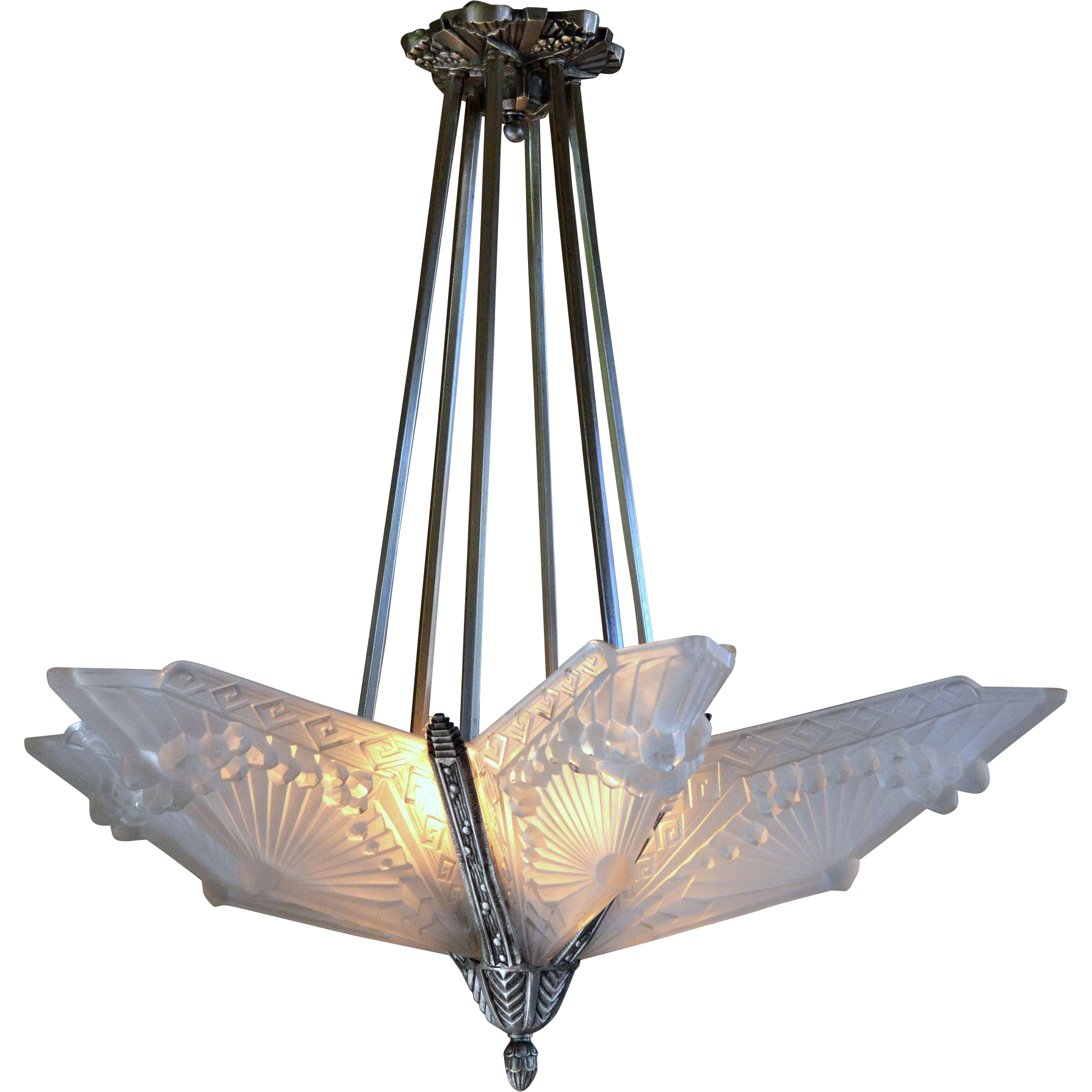 Charles Schneider French Art Deco Slip Shade Chandelier With Six Sold Ruby Lane
