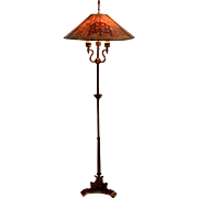 Antique Floor Lamp With Mica Shade Signed Mutual Sunset Lamp Co.