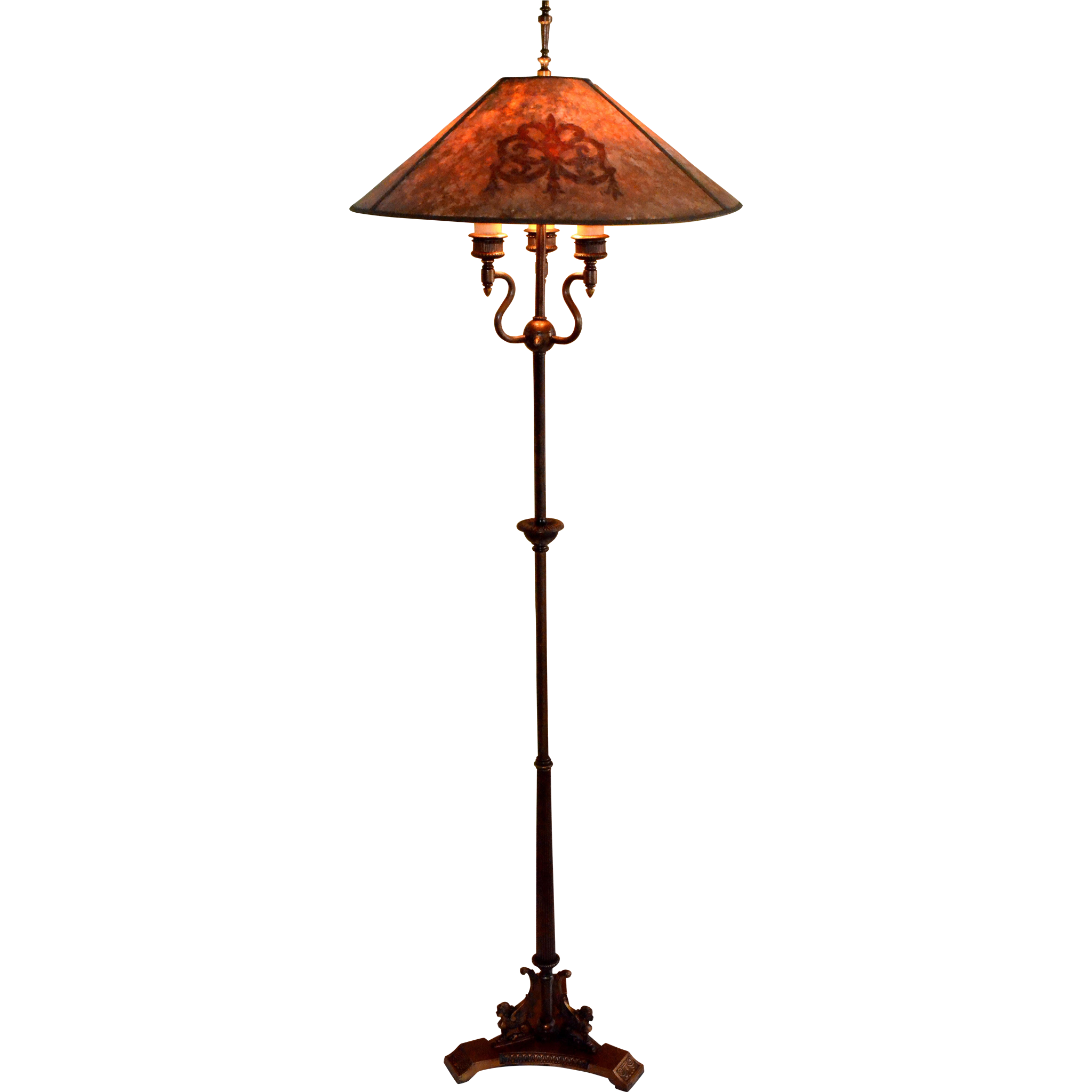 Antique Floor Lamp With Mica Shade Signed Mutual Sunset