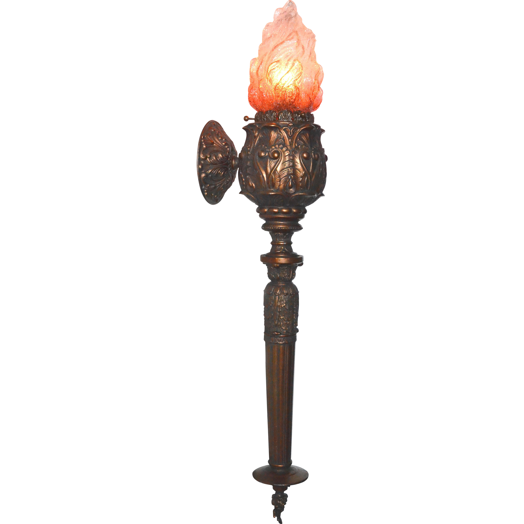 Torch Style Sconce With Cranberry To Clear Overshot Flame