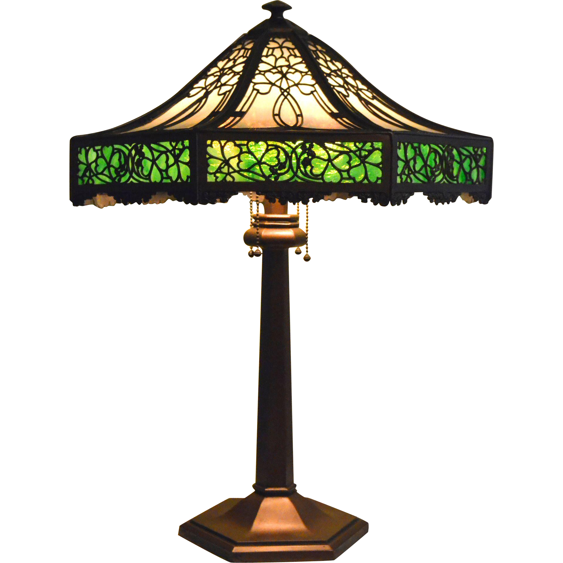 Miller High Life Stained Glass Pool Table Light: Slag Glass Panel Lamp Signed Bradley And Hubbard With