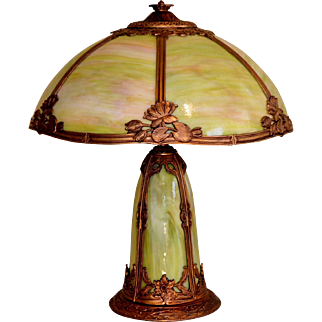 Slag Glass Panel Lamp With Lighted Base and Water Lily Motif