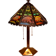 Bradley and Hubbard Slag Glass Panel lamp With Scenic Motif