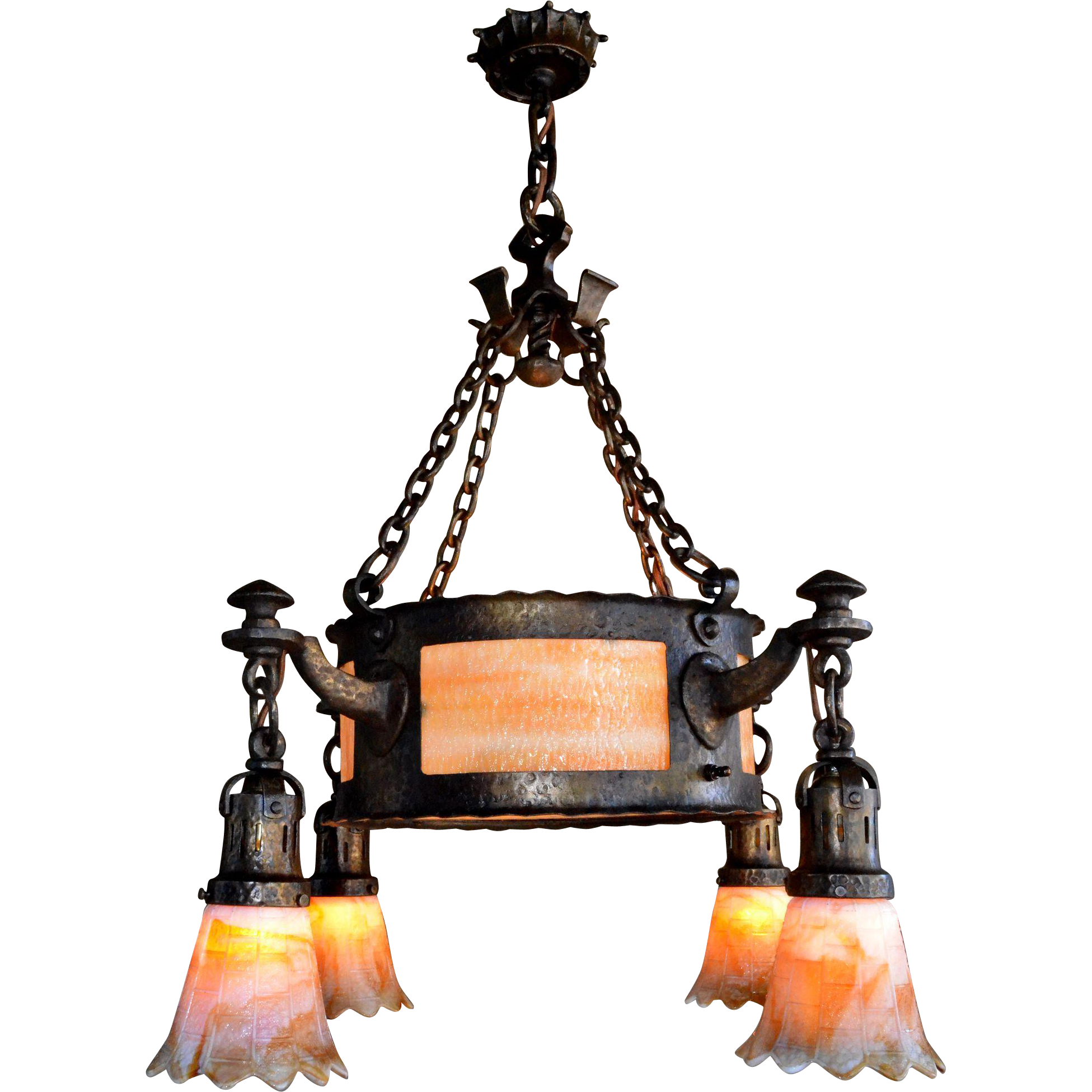 Arts and crafts chandelier with hammered finish center for Arts and crafts chandelier