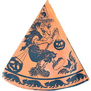 Vintage Halloween Party Hat Broom Riding Witch Cat Riding Moon Germany NOS