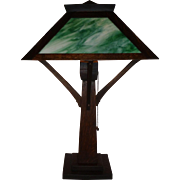 Mission Arts and Crafts Oak Table Lamp By W.B. Brown