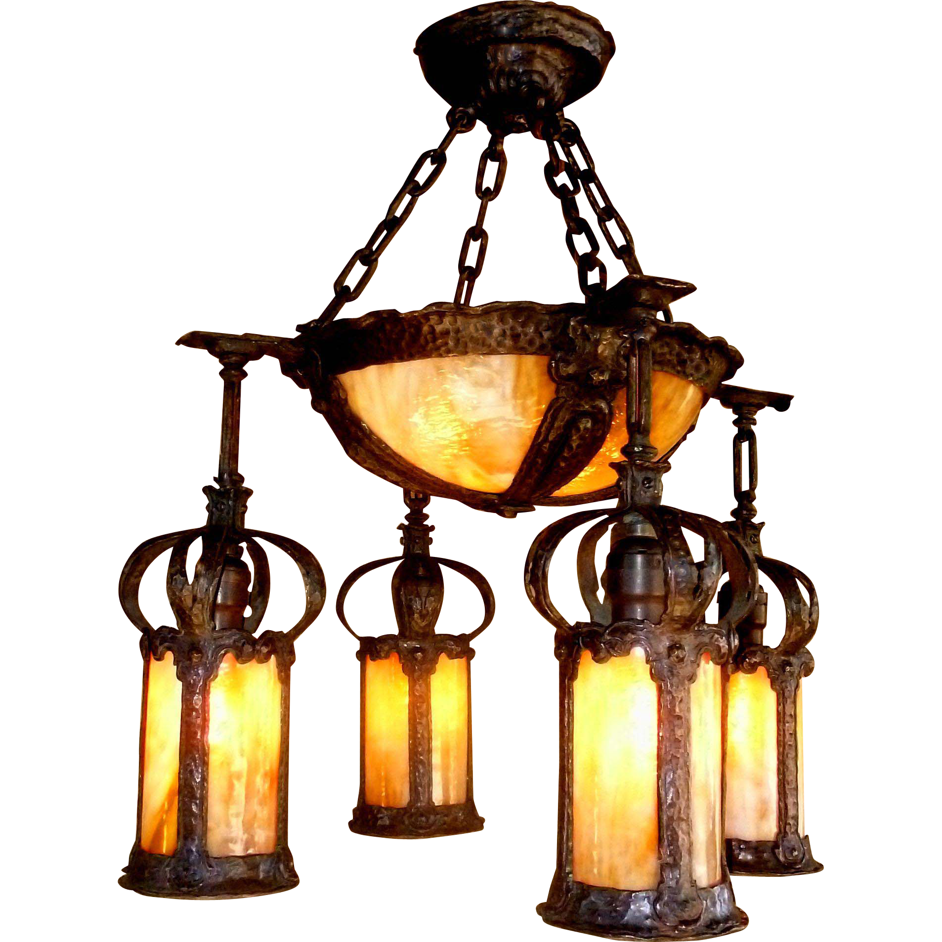 Arts and crafts hammered chandelier with 4 lantern shades for Arts and crafts chandelier