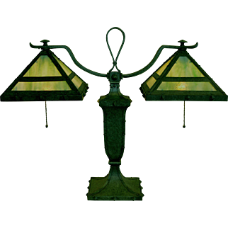 Bradley and Hubbard Arts and Crafts Double Shade Slag Glass  Lamp