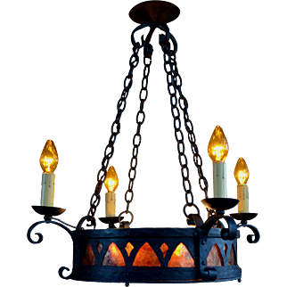 Spanish Revival Chandelier with  Hand Hammered Iron and Mica Inserts