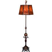 Art Deco Nude Figural Floor Lamp with Period Decorated Mica Shade