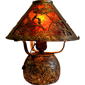 Heintz Arts and Crafts  Boudoir Lamp in the Poppy Motif with Gold Acid Washed Finish