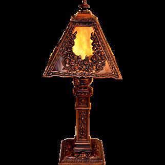 Slag Glass Miller Boudoir Size Panel Lamp with Ornate Decoration