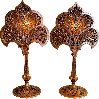 Pair of Ornate Filigree Mantle Lamps With Gold Wash Finish