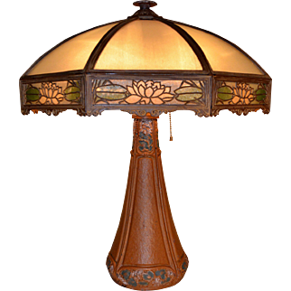 Bradley and Hubbard Signed Art and Crafts Reverse Painted Table lamp