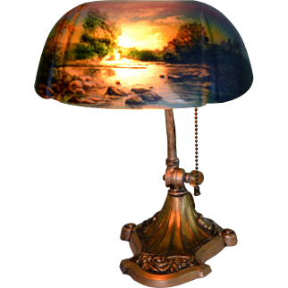 Reverse Painted Scenic  Desk Lamp Signed Pittsburgh Lamp Co.