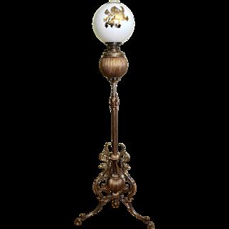 Bradley and Hubbard Victorian Kerosene Floor Lamp With Peacocks