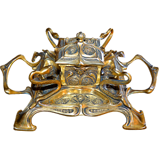 Art Nouveau Lidded Inkwell With Winged Figure and 4 Snakes