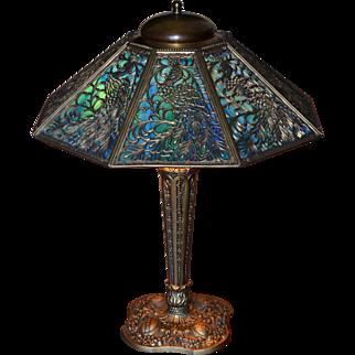 Slag Glass Panel Lamp With Peacock Filigree