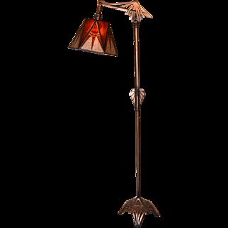 Art Deco Floor Lamp With Period Geometric Mica Shade