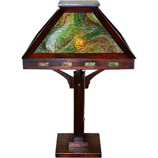 Arts and Crafts Slag Glass Mahogony Table Lamp With Granite Texture Glass