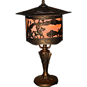 Slag Glass Boudoir Lamp with Native American Indian Motif