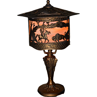 Slag Glass Boudoir Lamp with Native American Indian Motif